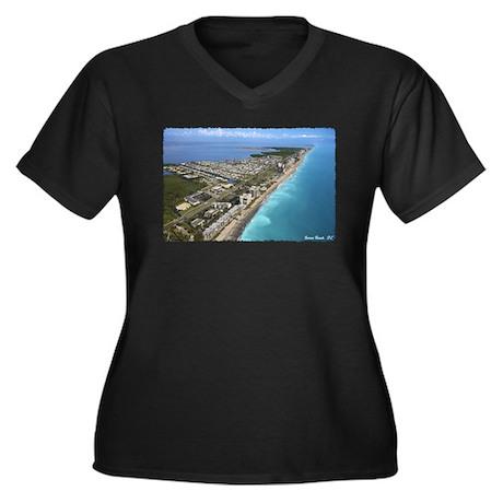 Jensen Beach Women's Plus Size V-Neck Dark T-Shirt