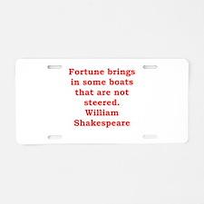 william shakespeare Aluminum License Plate
