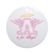 A is for Angel Pink Ornament (Round)