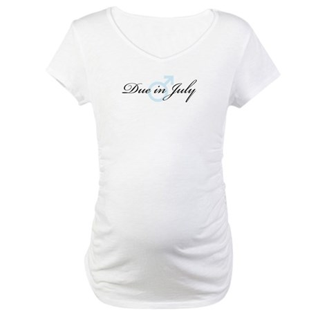Due in July (boy) Maternity T-Shirt