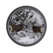 Mule Deer in the Oregon Snow Wall Clock