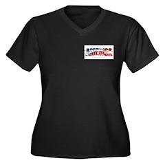America-W Women's Plus Size V-Neck Dark T-Shirt