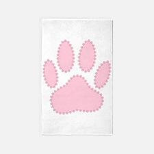 100% Pink Dog Pawprint 3'x5' Area Rug