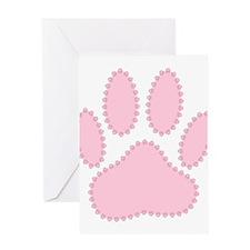 100% Pink Dog Pawprint Greeting Cards