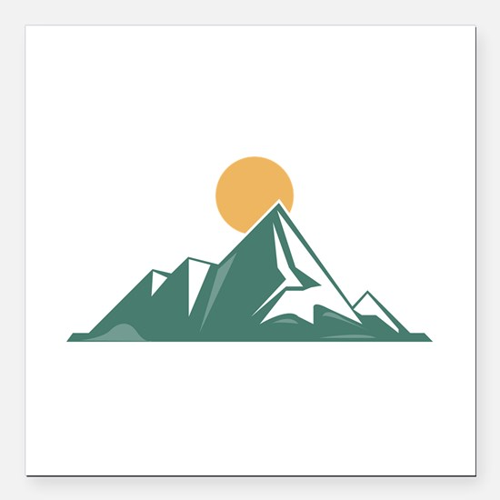 "Sunrise Mountain Square Car Magnet 3"" x 3"""