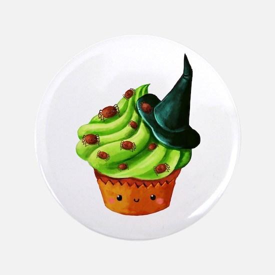 "Green Halloween Cupcake 3.5"" Button"