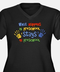 Stays In Preschool Women's Plus Size V-Neck Dark T