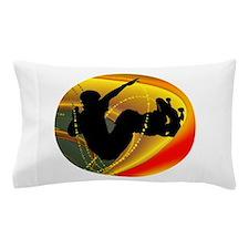 Skateboarding Silhouette in the Bowl. Pillow Case