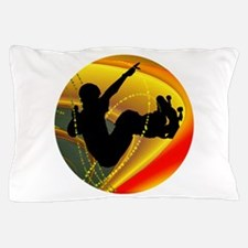Skateboarding Silhouette in the Bowl. Pillow Case