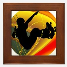Skateboarding Silhouette in the Bowl. Framed Tile