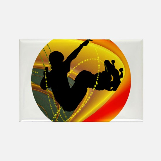 Skateboarding Silhouette in the Bowl. Magnets