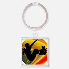 Skateboarding Silhouette in the Bowl. Keychains