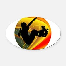 Skateboarding Silhouette in the Bo Oval Car Magnet