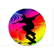 Skateboarding on Rainbow Grunge Invitations