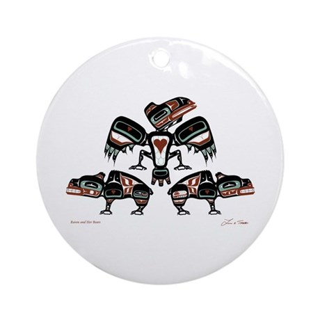 Raven & Her Bears Ornament (Round)