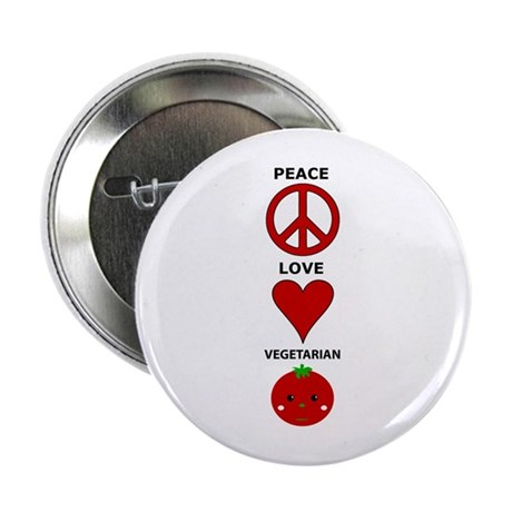 Peace Love Vegetarian Button