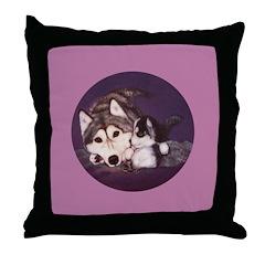 Siberian Husky Mom & Puppy Throw Pillow