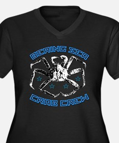 CRAB CREW Women's Plus Size V-Neck Dark T-Shirt