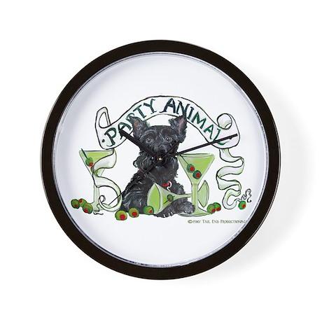 Scottish Terrier Martinis Wall Clock