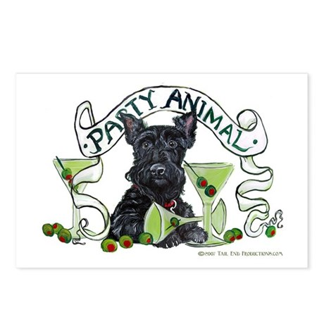 Scottish Terrier Martinis Postcards (Package of 8)