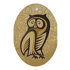 Owl Symbol Color Ornament (Oval)