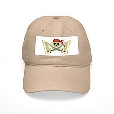 Skull & Crossbones on Red Banner Baseball Cap
