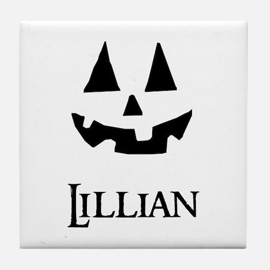 Lillian Halloween Pumpkin face Tile Coaster