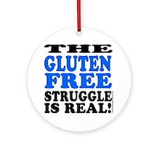 Gluten Free Struggle Blue/Black Ornament (Round)
