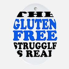 Gluten Free Struggle Blue/Black Ornament (Oval)