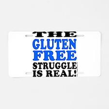 Gluten Free Struggle Blue/Black Aluminum License P