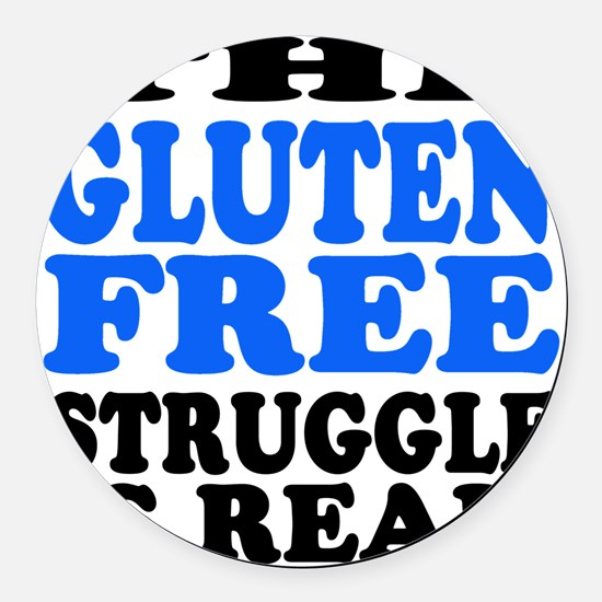 Gluten Free Struggle Blue/Black Round Car Magnet