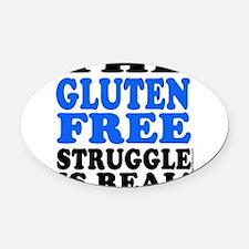 Gluten Free Struggle Blue/Black Oval Car Magnet