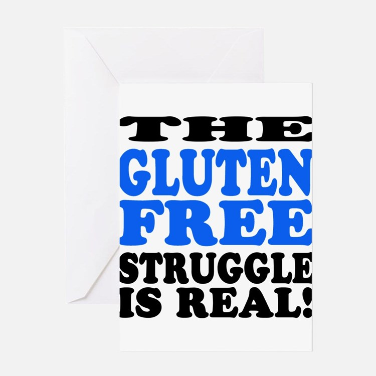 Gluten Free Struggle Blue/Black Greeting Cards