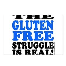 Gluten Free Struggle Blue/Black Postcards (Package