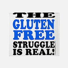Gluten Free Struggle Blue/Black Throw Blanket