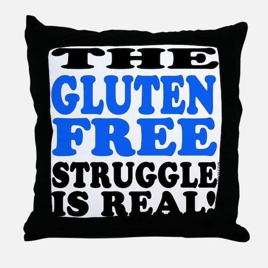 Gluten Free Struggle Blue/Black Throw Pillow