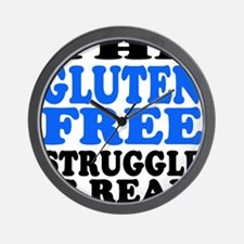 Gluten Free Struggle Blue/Black Wall Clock