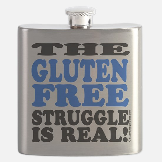 Gluten Free Struggle Blue/Black Flask