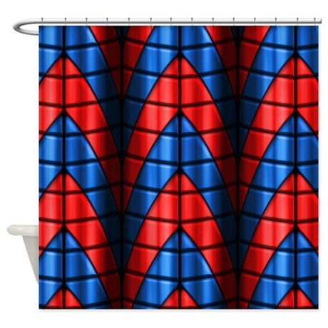 superheroes red blue shower curtain by phantasmdesigns. Black Bedroom Furniture Sets. Home Design Ideas