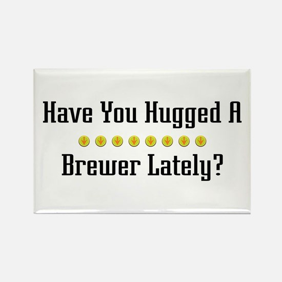 Hugged Brewer Rectangle Magnet