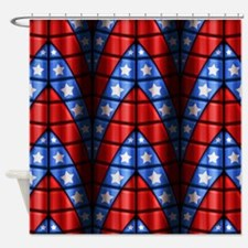 Superheroes - Red Blue White Stars Shower Curtain