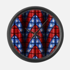 Superheroes - Red Blue White Star Large Wall Clock