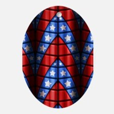 Superheroes - Red Blue White Stars Ornament (Oval)