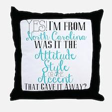 North Carolina Girl (Blue) Throw Pillow