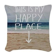 This Is My Happy Place Woven Throw Pillow