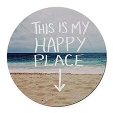 This Is My Happy Place Round Car Magnet