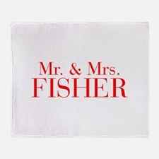 Mr Mrs FISHER-bod red Throw Blanket