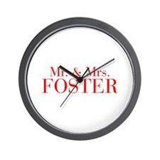 Mr Mrs FOSTER-bod red Wall Clock