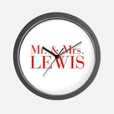 Mr Mrs LEWIS-bod red Wall Clock