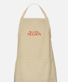 Mr Mrs NELSON-bod red Apron